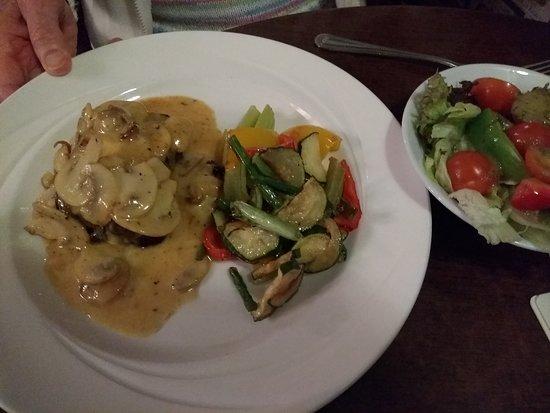 Little Stretton, UK: Nut roast with stir fried vegetables and salad