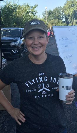 Serving Coffee at Jeep Fest