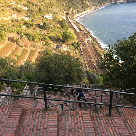 Corniglia, Italia: Views of the bay and walk down to the station