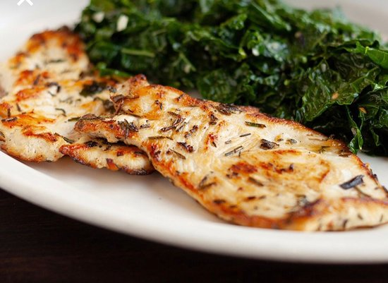 Rosemary chicken with organic satee kale