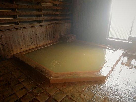 Shohoen: 檜の壁、天井 浴槽は5~6人サイズ