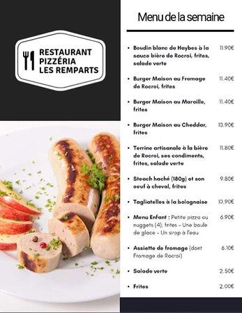 Rocroi, France: Une partie de notre carte avec des produits desimilaires ARDENNES