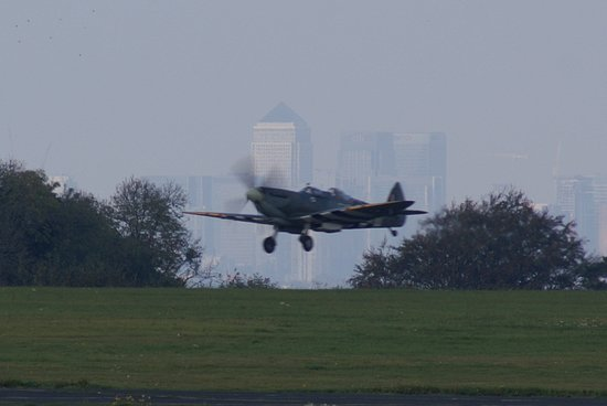 Biggin Hill, UK: Take off with Canary Wharf as a backdrop. The skyline has changed in 70+ years.