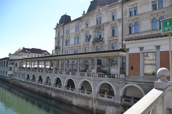 Okrepcevalnica Ribca: Fachada posterior con vistas al rio
