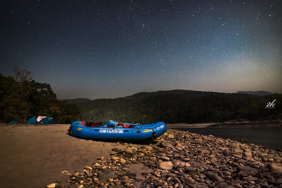 Team 4 Adventure: Our raft waiting under the stars