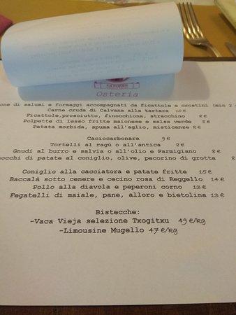 La Torre Osteria et Bottega: menu