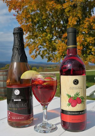 """""""Crangria"""" = Ricker Hill Cranberry wine + Mainiac Gold-Cranberry Hard Cider"""