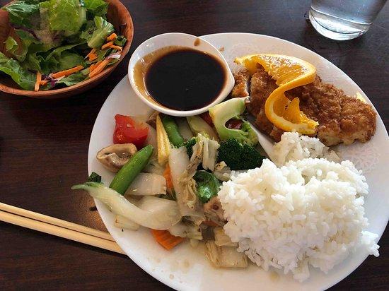 Brewer, Maine: katsu lunch special - Chinese rice, plum sauce, veggie stir-fry