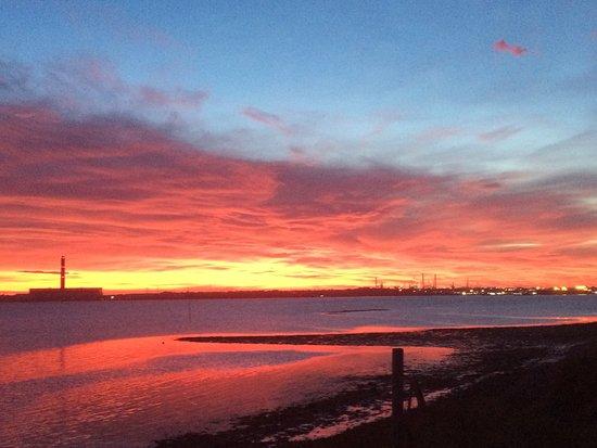 Warsash, UK: Sunset over the Solent