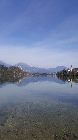 Vacker sjö omgiven av alperna