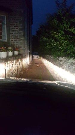 the narrow driveway