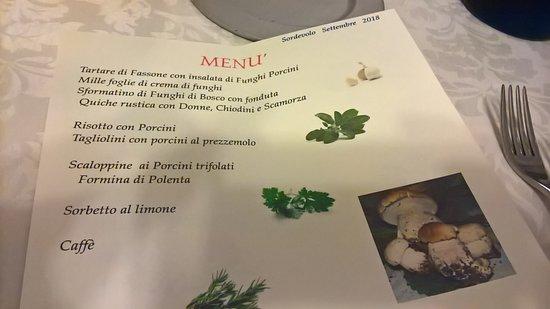 Sordevolo, Италия: Menù Funghi di Settembre