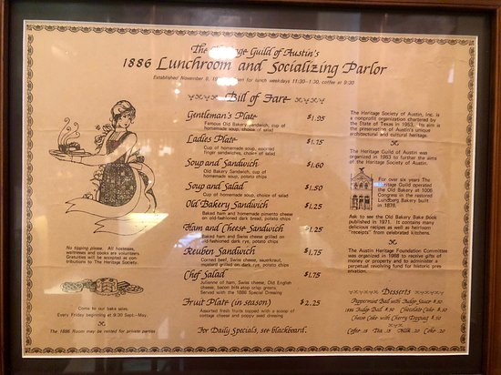 1886 Cafe & Bakery: On the wall in the restaurant: An example of the original cafe menu