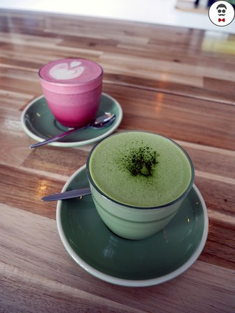 Matcha latte and Beetroot latte