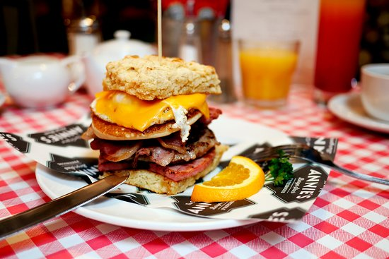 """The Captain"". Real American Breakfasts served daily 8am-10.30am at Annie's Burger Shack Notting"