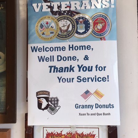 West Saint Paul, MN: Outside image and inside sign thanking those of us who served.
