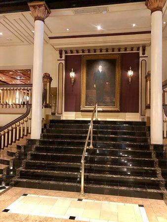 The Driskill's lobby staircase