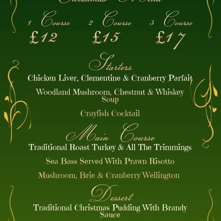 Earby, UK: Christmas Menu available in December Booking with a deposit is a must