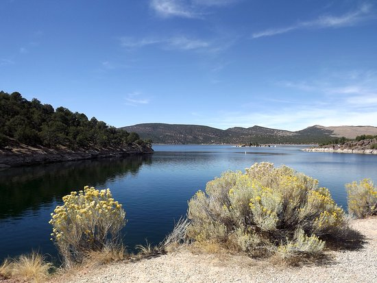 Manila, UT: Lake from picnic area next to the Dam and Visitor Center
