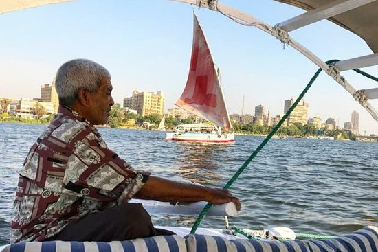 Sailing Egyptian felucca ride on the...