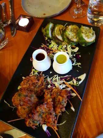 Karela kebab and mixed pakora
