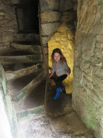 Exploring one of the Craignethan Castle towers