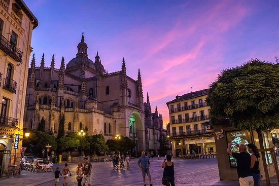 Cathedral from Main Square of Segovia