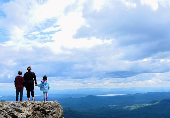 Keene, NY: For those in the ADK area, Hurricane Mt is a solid 6mi hike that little kids can handle.  The summit has amazing views as well as a fire tower you can climb up