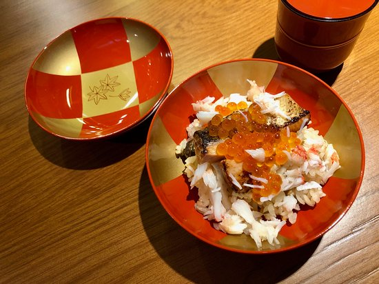 Clay pot cooked rice with seasonal ingredients