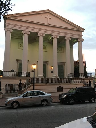 Christ Church at dusk in Savannah, GA. The oldest church in Savannah. It sits on the South Eastern side of Johnson Square.