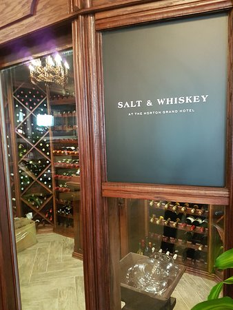 Salt & Whiskey Restaurant's wine cellar at the Horton Grand Hotel.