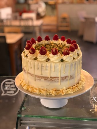 White Chocolate, Raspberry and PIstachio Cake - Gluten Free