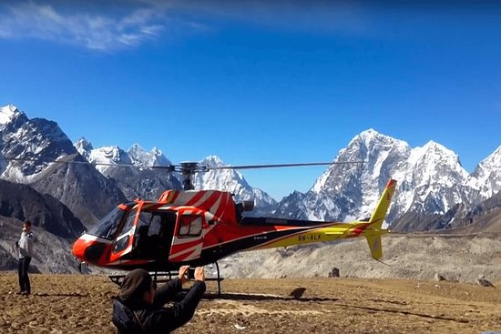 Everest base camp Landing Helicopter...