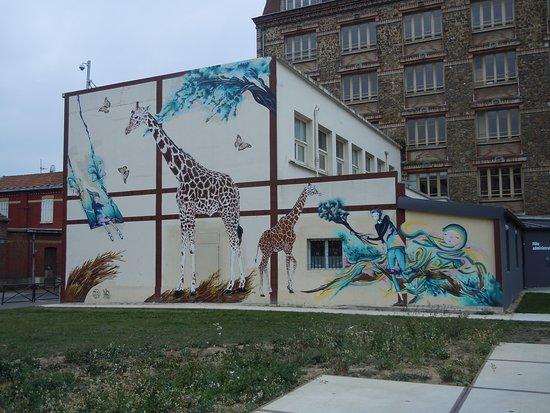 Fresque Petite Fille et Girafes