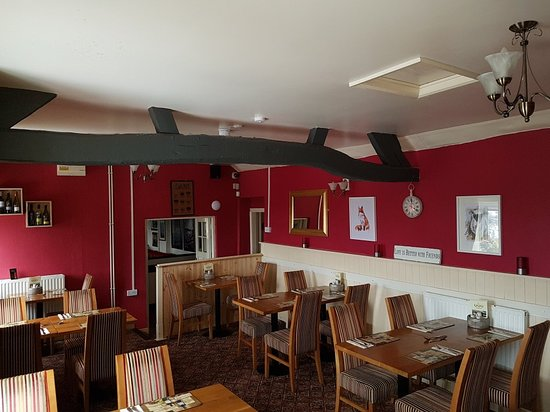 Bridgnorth, UK: From a cheese board, sunset, regulars in the restaurant,  a buffet and the new look dining area.