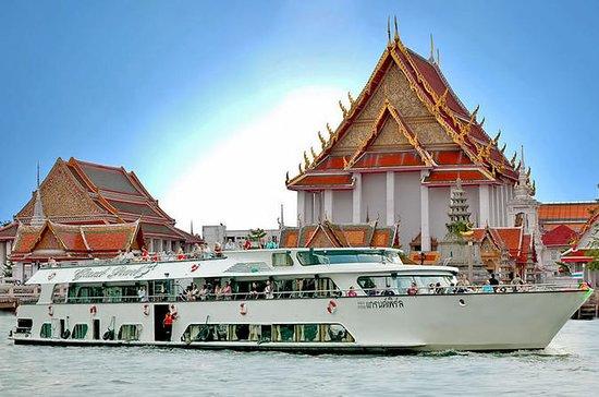 Templos de Ayutthaya e cruzeiro no rio...