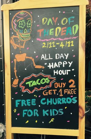 """Celebrate with Gringo Tacos y Cantina Dia de los Muertos (Day of the Dead)  All Day """"Happy Hour"""" ~ 50% off on selected drinks* Tacos: Buy 2 get 1 free* 1 free order of Churros for kids age 12 and under*  *Dine in customers only. Free taco of equal or lesser value.  137 Calmette, Nguyen Thai Binh Ward, District 1, HCMC Phone: 0949 123 177 We open from 11am-11pm"""