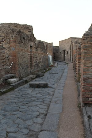 Side street with stepping stone