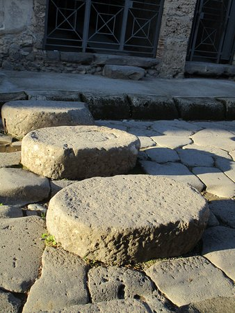 Stepping stones to cross a street