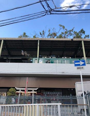 萱島神社の上に電車が入ってきた状態です。 屋根からは楠が出ています。