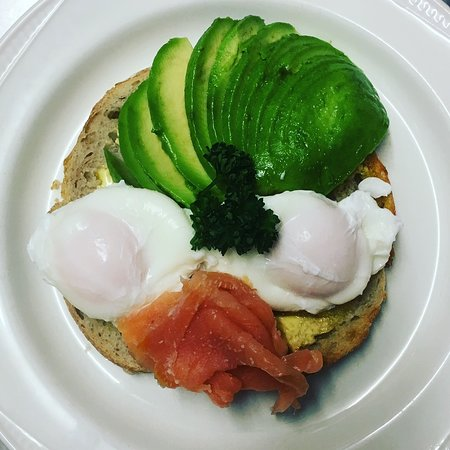 Poached Eggs, Smoked Salmon and Avocado on Sourdough Toast