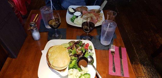 The Irish Harp Pub: Dublin Steak and Guiness Pie/Cornbeef and Cabage