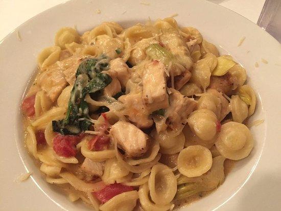 Orecchiette pasta primavera with chicken, tomatoes, spinach artichokes, onions and a creamy lemon garlic sauce with parmesan cheese.