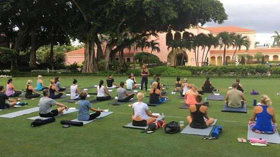 Yoga on Croquet Lawn