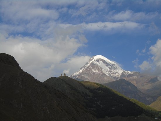 The Gergeti Church and a clear view of the peak