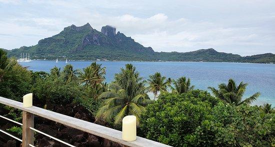 View of the main island of Bora Bora from near the Spa.