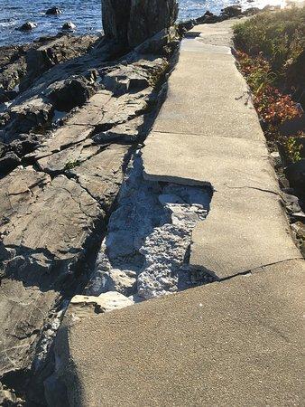 York Harbor, ME: Broken sidewalk on trail