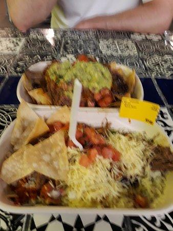 Beef taco and beef burrito