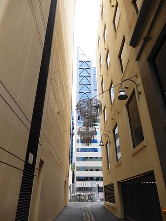 The ULTIMATE Perth Walking Tour: The unique light fixtures for alleyways to encourage people to check it out
