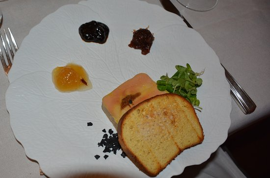 house made foie gras with three jams – ginger, Berries in Barolo, and fig.